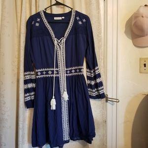 Roller Rabbit blue navy cotton dress pom pom